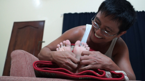 Tickling Male Feet Rolled In Carpet