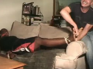 Tied And Foot Tickled Black Man