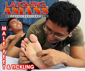 Laughing Asians Male Feet Tickling
