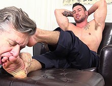 Foot Slave Commanded to Lick His Feet